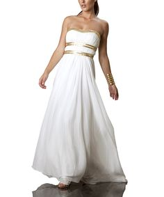 Take a look at this JS Collections Ivory & Gold Strapless Dress - Women on zulily today!