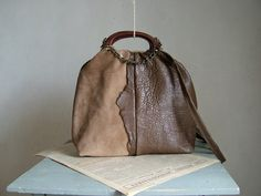 Brown Leather and Suede Boho Handbag in Chic Chocolate Leather and Camel Suede - Chain Detail