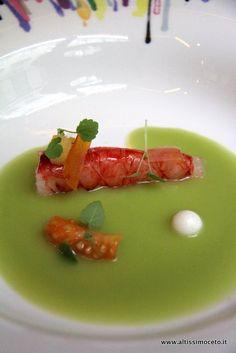 Gamberi rossi, gazpacho di pomodoro verde, yogurt, zenzero e bottarga - Chef Andrea Aprea