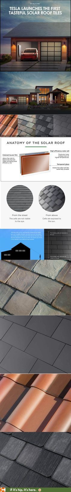 Finally, good looking solar roofing! Learn all about it at www.ifitshipitshe... #TESLA #solarrooftiles