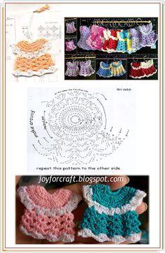 Crochet Dress Ornament - Chart http://my-pattern.blogspot.com/2007/08/mini-dress-book-mark.html