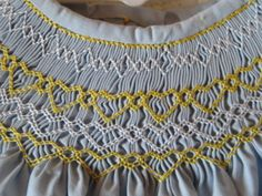 Hand Smocked Bishop Dress - Blue with yellow and white stitching, Girls Size 6 months. $41.00, via Etsy.
