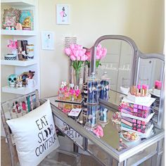 Bright Eclectic Makeup Vanity