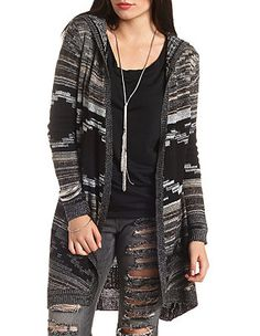 bb1343ada7 Hooded Aztec Duster Cardigan Sweater  Charlotte Russe -  http   AmericasMall.com