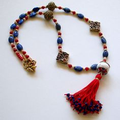 Tibetan Tassel Necklace in Coral & Lapis Tibetan by beachartz, $69.95