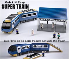 "Plan Set Description: Super Train with 2 cars is 20"" L x 3-3/8"" W x 4-3/4"" H. Printable labels are included for the Little People and Train Depot. Roof lifts off so Little People can ride the Train! Detailed exploded views and assembly photos. Color 8-1/2"" x 11"" pages with black & white pattern pages."