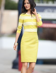 Think this is a cute look. Need some more yellow in my closet...it's a good color with a tan. ;)   from The Limited