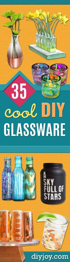 35 DIY Ideas for One Of A Kind Glassware, crafts to make and sell diy projects Crafts To Make And Sell, Sell Diy, Diy Glasses, Easy Homemade Gifts, Diy Wedding Gifts, Wedding Ideas, Sharpie Art, Sharpie Crafts, Cool Bars