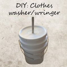 We've come across a few ideas for DIY washing machines and have picked out an example that is both simple and compact. We've combined a couple ideas we've seen into a washer and w… Diy Clothes Washer, Washing Clothes, Diy Clothes Wringer, Camping Washing Machine, Washing Machines, Emergency Preparation, Survival Prepping, Survival Skills, Beautiful Home Designs