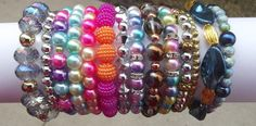 Bracelets I made. Glass Jewelry, Glass Beads, Jewelry Bracelets, Jewelry Making, Jewels, How To Make, Inspiration, Ideas, Biblical Inspiration