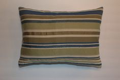 Exclusive 12x16 Blue Green Beige Striped Lumbar Pillow by DecorTreasures on Etsy