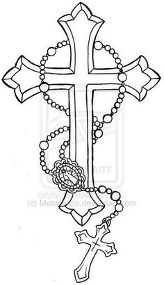 Flower With Roseary Stencils Rosary Tattoocross Tattoo Design within dimensions 1421 X 1610 Cross Tattoo Stencil Designs - There are many styles and Tattoo Stencil Designs, Cross Tattoo Designs, Tattoo Stencils, Cross Designs, Cross Drawing, Rosary Drawing, Body Art Tattoos, Tattoo Drawings, Sleeve Tattoos