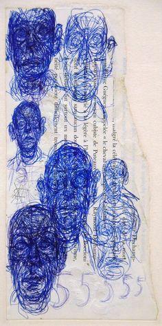 Alberto Giacometti - 4 juin au 1 novembre 2015 - Aux Capucins / Landerneau. Portraits au stylo à bille sur divers supports