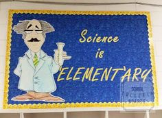 "Let's focus on science learning! Here's a fun ""Element""ary school science bulletin board! Easy Bulletin Boards, Elementary Bulletin Boards, Science Bulletin Boards, Science Classroom, Elementary Science, Science Fair, Elementary Schools, Teaching Jobs, Teaching Science"