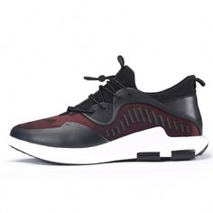 quality design 10d3b 9163f Black-Red Lace-ups Stylish Sneakers for Men to be tall 6cm   2.36
