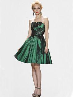 2012 Spring Style A-line Strapless Beading Sleeveless Knee-length Taffeta