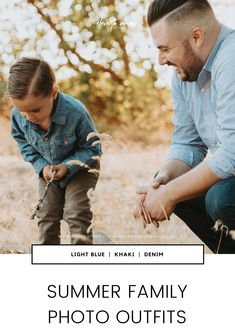 Summer photoshoot outfit ideas for family photoshoots. Blue, khaki, denim, navy, and light grey look great for family photos.