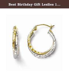 Best Birthday Gift Leslies 10K Two-tone Diamond-cut Hinged Hoop Earrings. Leslies 10K Two-tone Diamond-cut Hinged Hoop Earrings Polished - 10K Two-tone - Textured - Hinged hoop Size: 0 Length: 16 Weight: 1.01 Jewelry item comes with a FREE gift box. Re-sized or altered items are not subject for a return. Leslies 10K Two-tone Diamond-cut Hinged Hoop Earrings Product Type:Jewelry Jewelry Type:Earrings Material: Primary:Gold Material: Primary - Color:Two-Tone Material: Primary - Purity:10K...