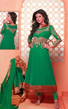 GREENISH BLUE FAUX GEORGETTE ANARKALI SALWAR KAMEEZ - DIF 29494