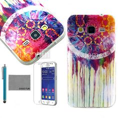 COCO FUN® Colorful Flower Pattern PU Leather Case with Screen Protector and Stylus for Samsung Galaxy Core Prime G360 - USD $4.99