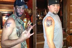 APPARENTLY this is how dudes display they are bff's lol AWESOME- Luke Bryan & Jason Aldean with Buck Commander tattoos