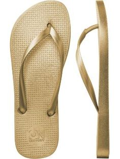 Gold Metallic Flip-Flops | Old Navy metallic gold flip-flops $3.50 - apparently these are completely off the grid seeing as they do not exist anywhere. (not on any online shopping site)