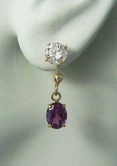 EARRING JACKETS for Studs 14k Gold Gemstone 8X6 by earcuffs, $159.00