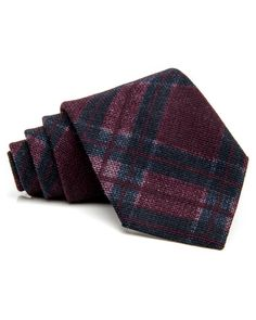 """Isaia Burgundy and Navy Plaid Tie 59"""" long 3.5"""" wide 12%…"""