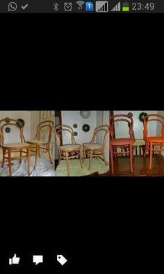 Antes e depois cadeiras coloridas