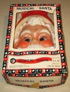 Vintage Christmas Santa Ornament Hanging  Hard Plastic Face Musical Pull String | #1695999950