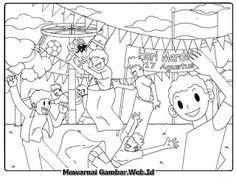 Gambar Mewarnai Lomba Makan Kerupuk Dalam Peringatan 17 Agustus