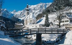 Download wallpapers St Sebastian Church, Ramsau, winter, mountains, snow, Ramsauer Ache River, Bavarian Alps, Bavaria, Germany