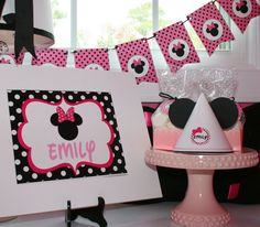 Minnie Mouse Party Package - Banner, Dessert table decorations, tissue poms, centerpiece arrangement, cupcake toppers, party flags, pennant banner and more www.partyondesigns.com