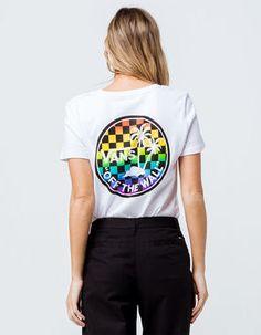 0cb7cbffb2a611 VANS Rainbow Dual Palm Womens Tee - WHITE - 342514150