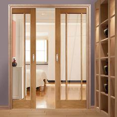 Double Pocket Worcester Oak 3 Pane Door with Clear Safe Glass - Prefinished. #oakdoors #glazeddoors #pocketdoorswithglass
