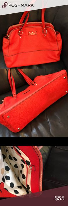 Kate Spade handbag Bright red color. 3 pockets. Pebbled leather. Clean inside and out. In good, preowned condition. kate spade Bags Shoulder Bags