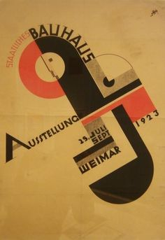 During the summer of the first Bauhaus exhibition took place in Weimar. Joost Schmidt, who later became a Bauhaus instructor but was still a student at the time, designed an exhibition poster that was used to promote the event across the entire country. Design Bauhaus, Bauhaus Art, Bauhaus Logo, Bauhaus Style, Herbert Bayer, Font Design, Typography Design, Type Design, Modern Design