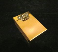 Vintage Cigarette Case 1950s Cigarette Case Mad Men Case Gold Rhinestone Ladies Cigarette Case FANTASTIC CONDITION
