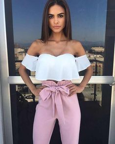Try a white off-the-shoulder cropped top with high-waisted blush tie pants for an evening out this spring. Let Daily Dress Me he… Casual Outfits, Cute Outfits, Fashion Outfits, Womens Fashion, Fashion Trends, Fashion Hair, Fashion News, Style Fashion, Latest Fashion