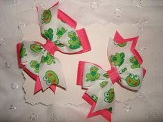 Frog Hair Bow Set on Etsy, $4.00, so want when ally actually has hair