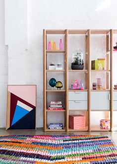 The Design Files Open House 2012 - shelving unit by Jardan, artwork by Esther Stewart, rug by Loom Rugs. www.thedesignfilesopenhouse.com