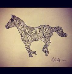 Indian ink geometric line art