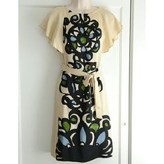 """EUC Rare Leifsdottir """"Printing Press"""" Sheath This beyond ethereally beautiful. I've had a time of it deciding whether to part with it. 100% silk, flutter sleeves, semi-fitted sheath, cream with cornflower-blue, black and meadow-green. Measurements: bust: 17"""", waist -up to 15.25"""", length: 38"""". breathtaking. :) Anthropologie Dresses"""