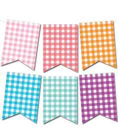 Free Printable Gingham Pennant Banner from printablepartydecor.com #freeprintable