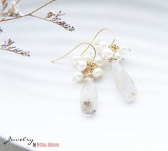 Rutilated quartz teardrop and Freshwater pearl earring Giveaway