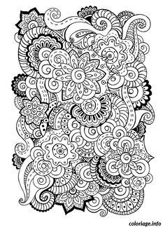 Coloriage difficile adulte superbes mandalas melange fleurs Dessin à Imprimer