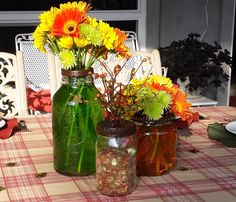 """Fun Fall decorating using vintage jars with modern day flower """"frog"""" tops! Color the water for extra flair!"""