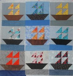I have about 15 of these cute ship quilt squares, any ideas on cute ship themed quilts?