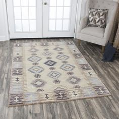 Rizzy Home Gossamer Beige Motif Area Rug Lodge Look, Modern Lodge, Complimentary Color Scheme, Clearance Rugs, Southwestern Style, Hand Knotted Rugs, Beige Area Rugs, Bohemian Rug, Home Decor