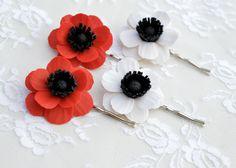 Set of 2 Red Poppy/Anemone Hair Clip, White Anemone/Poppy Hair Clip, Poppy Hair Accessories, Anemone Hair clip by Diaszabo on Etsy https://www.etsy.com/listing/213454682/set-of-2-red-poppyanemone-hair-clip